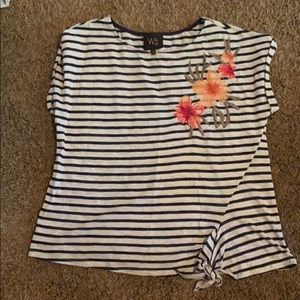 Striped T-shirt with appliqué flowers